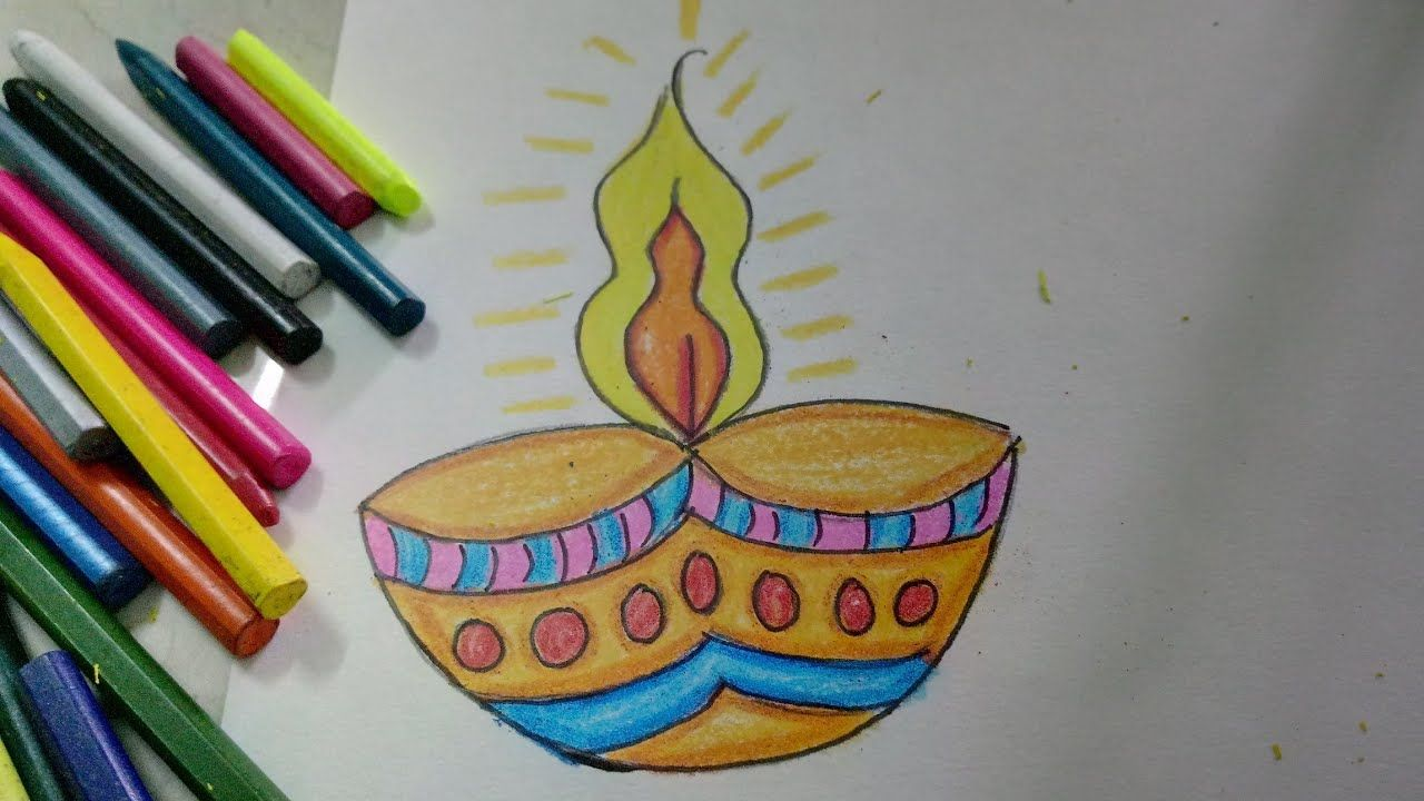 Easy And Colourful Diwali Diya Drawing For Kids How To Craftlas Drawing For Kids Diwali For Kids Diwali Drawing