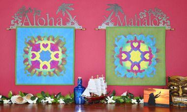 hawaiian applique, hand dyed hula hoop, accuquilt, machine applique