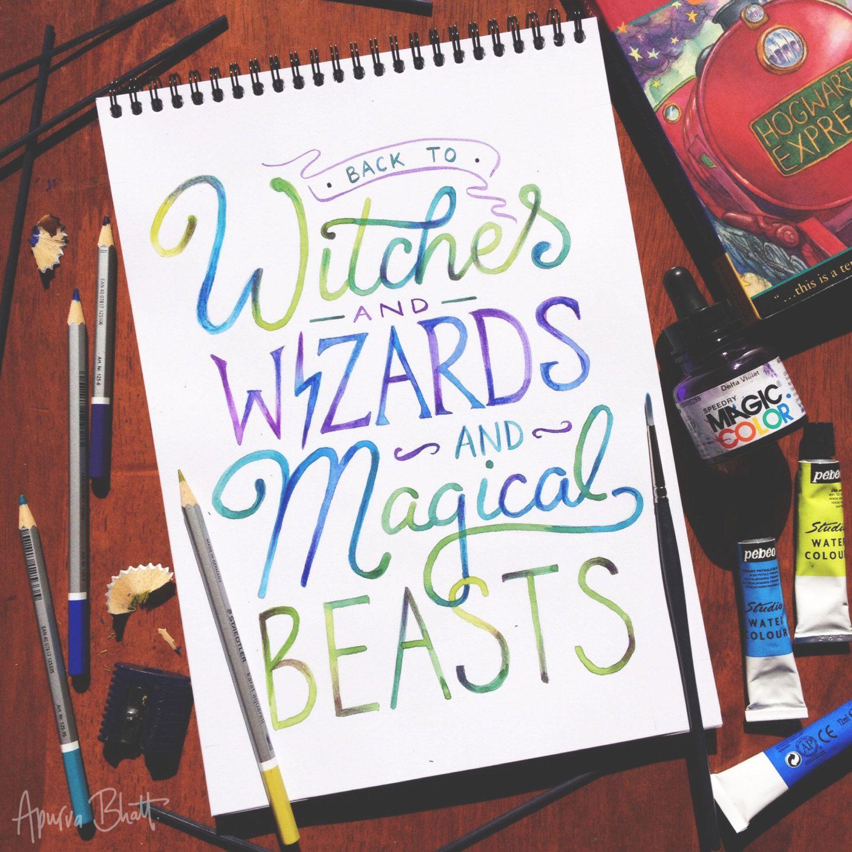 AVPM Back to Hogwarts watercolour hand lettered art