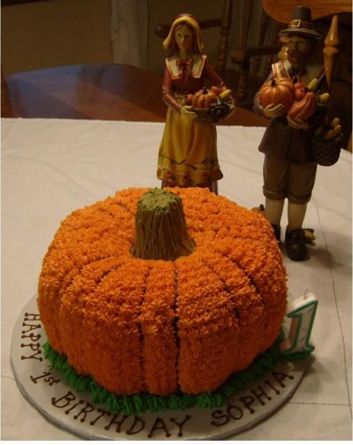 Thanksgiving Birthday Cake With Pumpkin Shape And Figures This Would