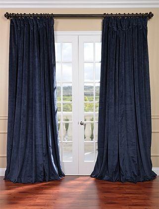 Signature Off White Double Wide Velvet Blackout Pole Pocket Curtain Panel Curtains Blue Velvet Curtains Half Price Drapes