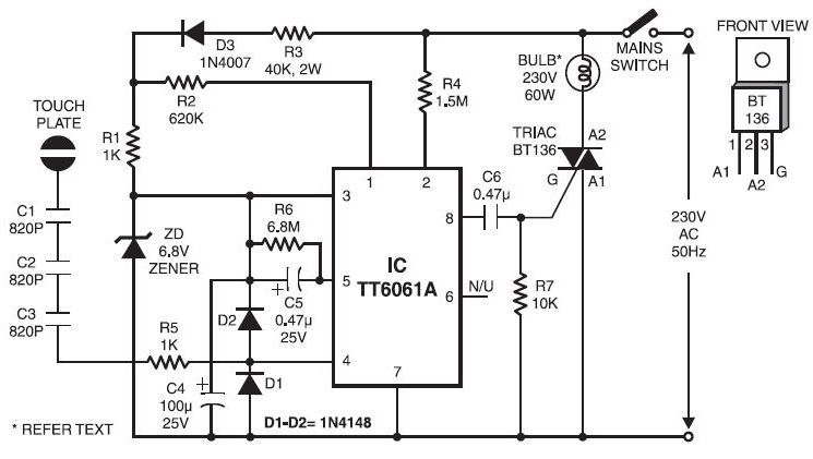 Touch Dimmer Switch Circuit Diagram Dimmer Switch Electronic Circuit Projects