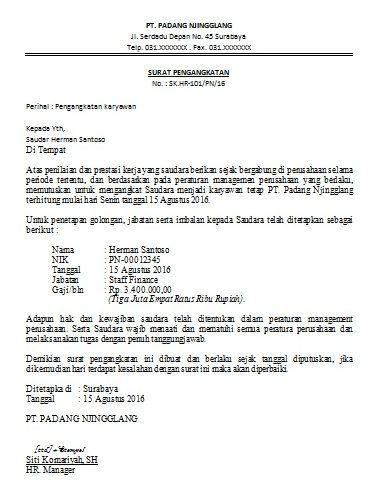 8+ Contoh Surat Pengangkatan Karyawan dan Jabatan Tertentu