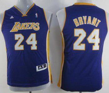 89dcb8d1fad Kids Los Angeles Lakers 24 Kobe Bryant Purple Revolution 30 Swingman NBA  Jerseys Sale Free Shipping