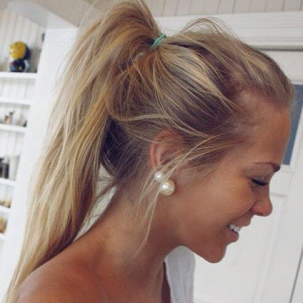 Cute messy ponytail.