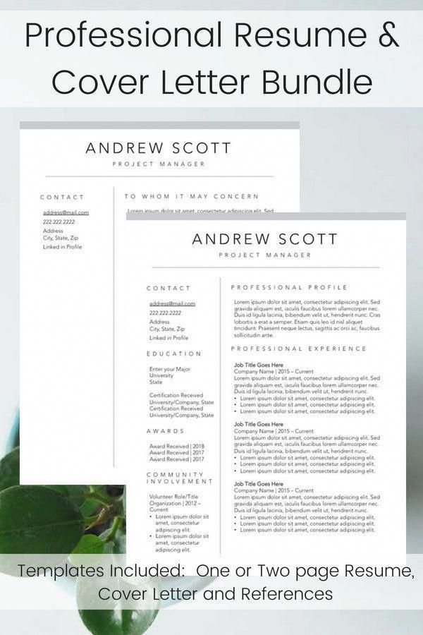 Bundle Resume Builder Cover Letter and References Template for Him