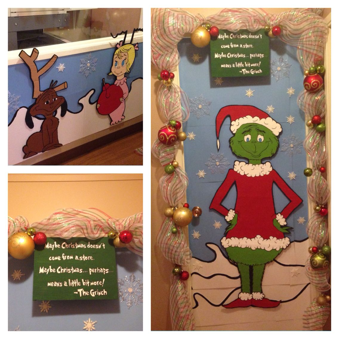 Grinch Christmas Door I Won First Prize Today A Day Off With Pay Grinch Christmas Christmas Door Holiday Decor