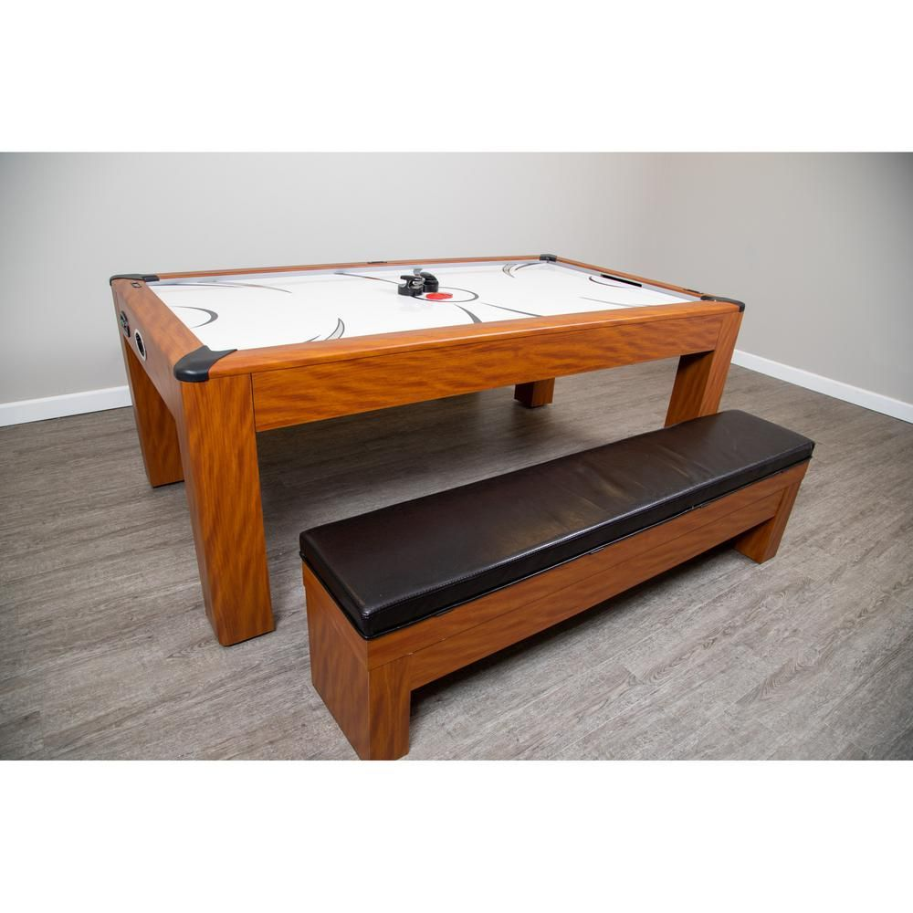 Hathaway Sherwood 7 Ft Air Hockey Table With Benches Bg2422h The Home Depot In 2020 Bench Table Air Hockey Table Bench Seat Pads