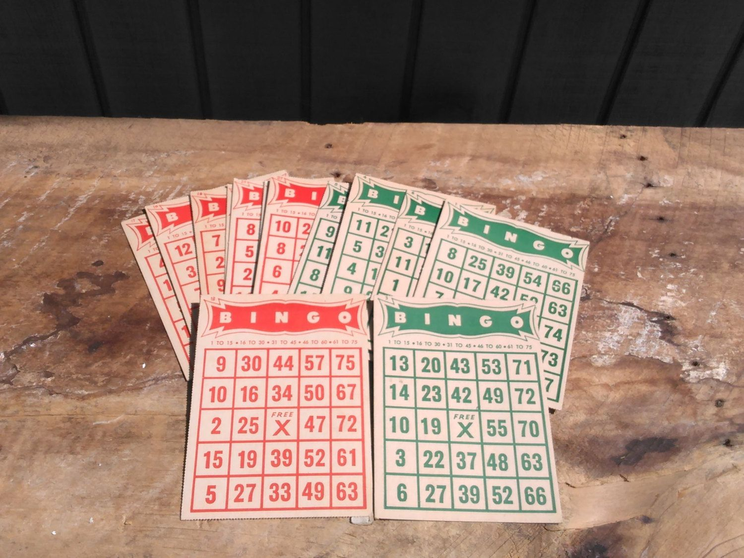 Bingo Cards - 15 Vintage Bingo Cards - Red & Green Bingo Cards by…