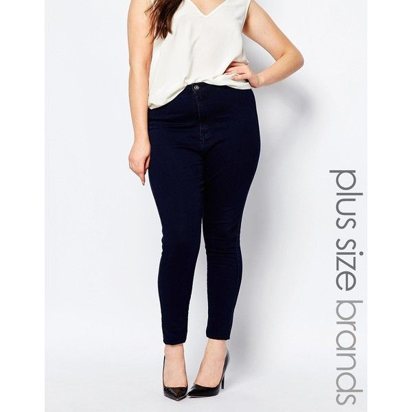Missguided Plus High Waisted Skinny Jean (125 BRL) ❤ liked on Polyvore featuring jeans, indigo, skinny fit jeans, denim skinny jeans, womens plus size jeans, super skinny jeans and plus size skinny leg jeans