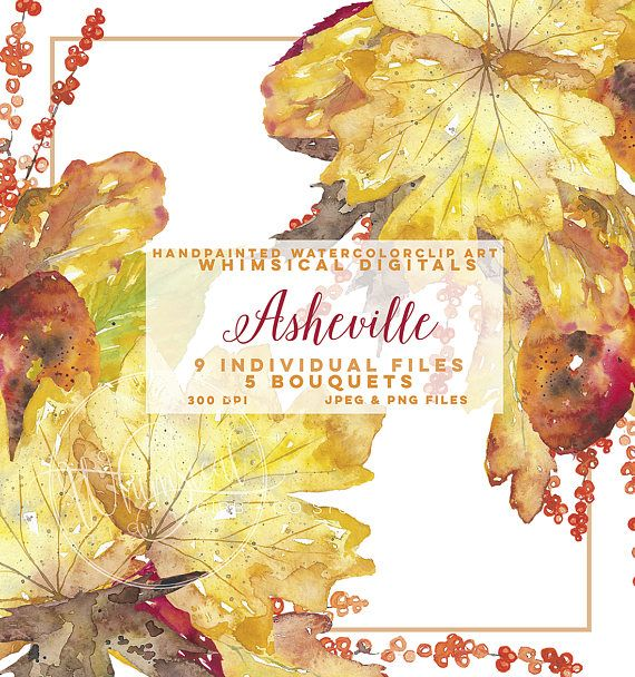 Fall theme Watercolor Clipart, leaf clip art, planner ...