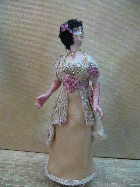 Miniature Porcelain 1 inch scale doll dressed in the by KaysStudio