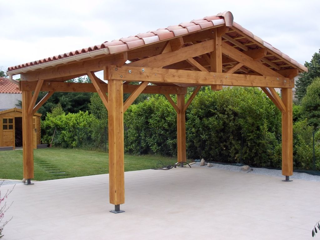 Carport 2 Pentes 5mx4m Couverture Tuile Appentis Amenagement Exterieur Carport Bois
