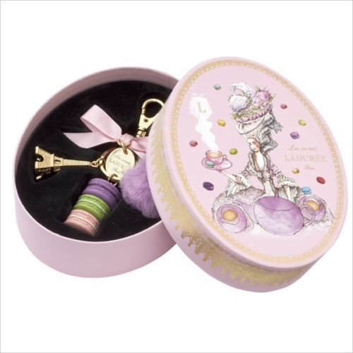 LADUREE-Japan-2015-New-Key-Chain-Ring-Macaron-Marquise-Pompon-Pink-Limit-Box