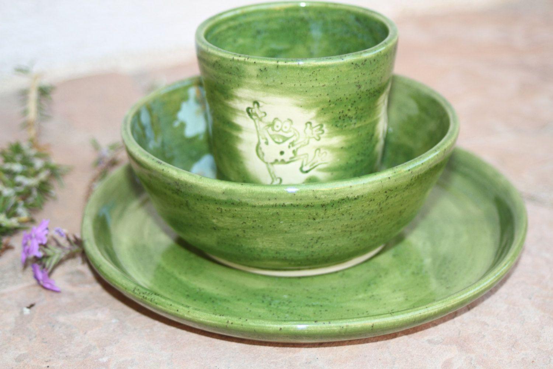Green Frog Children\u0027s Dinnerware handmade ceramic Cup and Bowl kids breakfast set kid\u0027s dinnerware child dishes childrens gift for kids & Green Frog Children\u0027s Dinnerware handmade ceramic Cup and Bowl kids ...