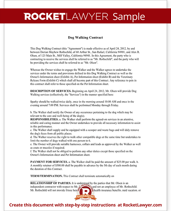 Dog Walking Contract  Dog Walking Service Agreement With