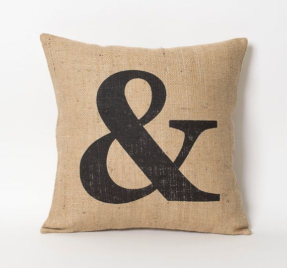 Outdoor Burlap Throw Pillow Covers - Ampersand Pillow Decorative Throw Pillow Minimalist Home Decor - Hessian Pillow Shabby Chic