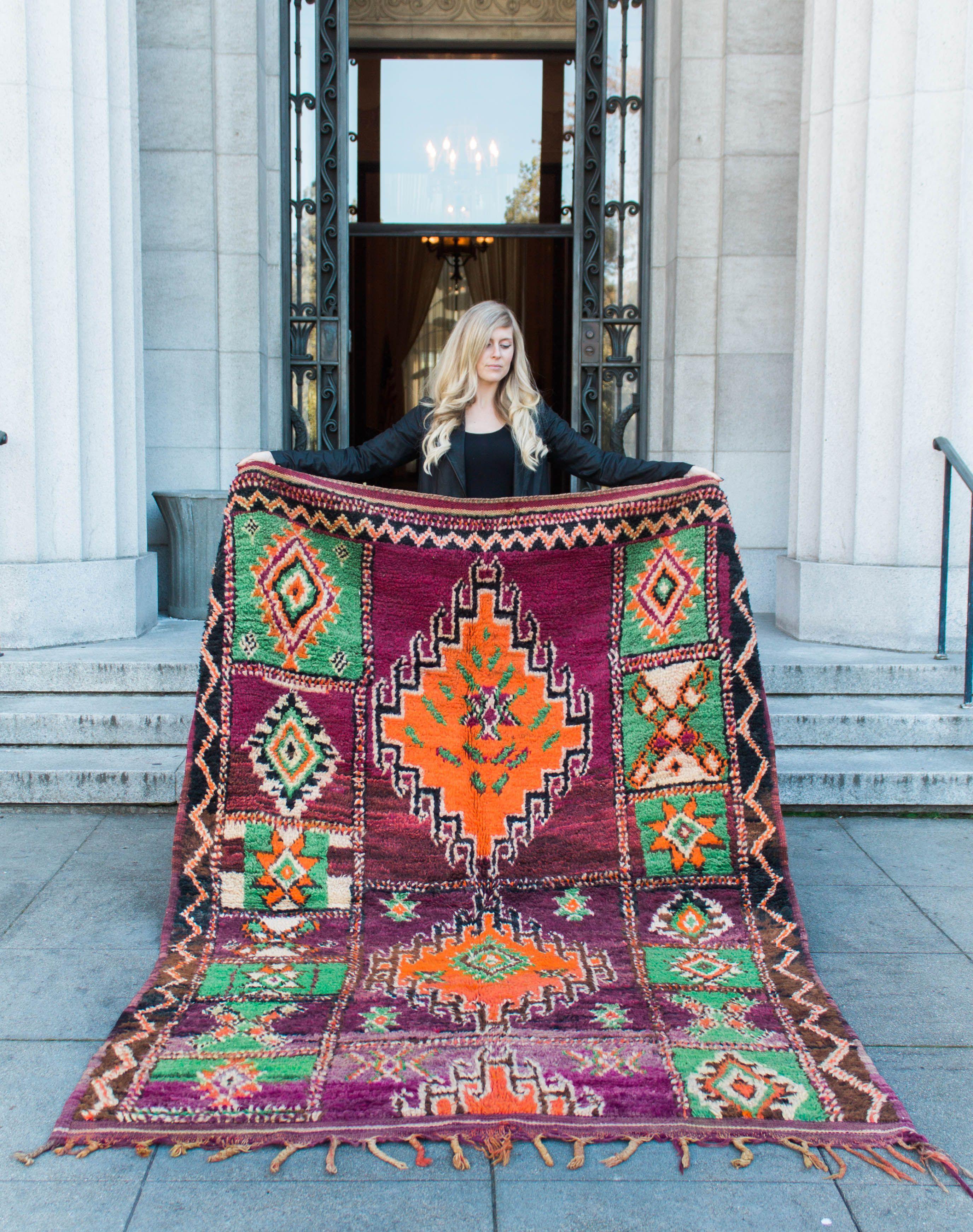 Moroccan Rug Boujad Unique Wool Bright Colors Orange Green Purple Berber The Elegant Nomad