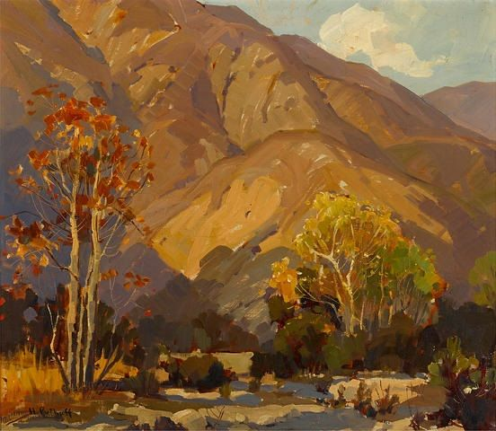 """Foothill Shadows,"" Hanson Puthuff, oil on canvas, 20 x 24"", private collection."