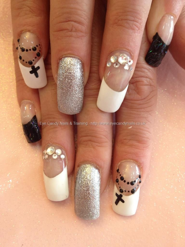 Black And White Nail Art With Swarovski Crystals And Rosary Bead