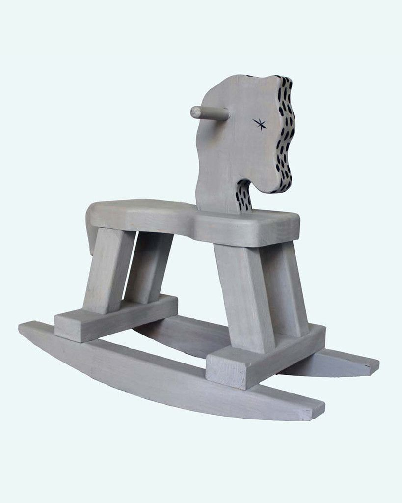 Grey & Navy Spotted Rocking Horse