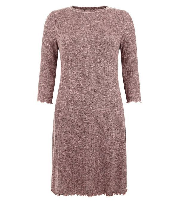 Mid Pink Ribbed 3/4 Sleeve Swing Dress   New Look