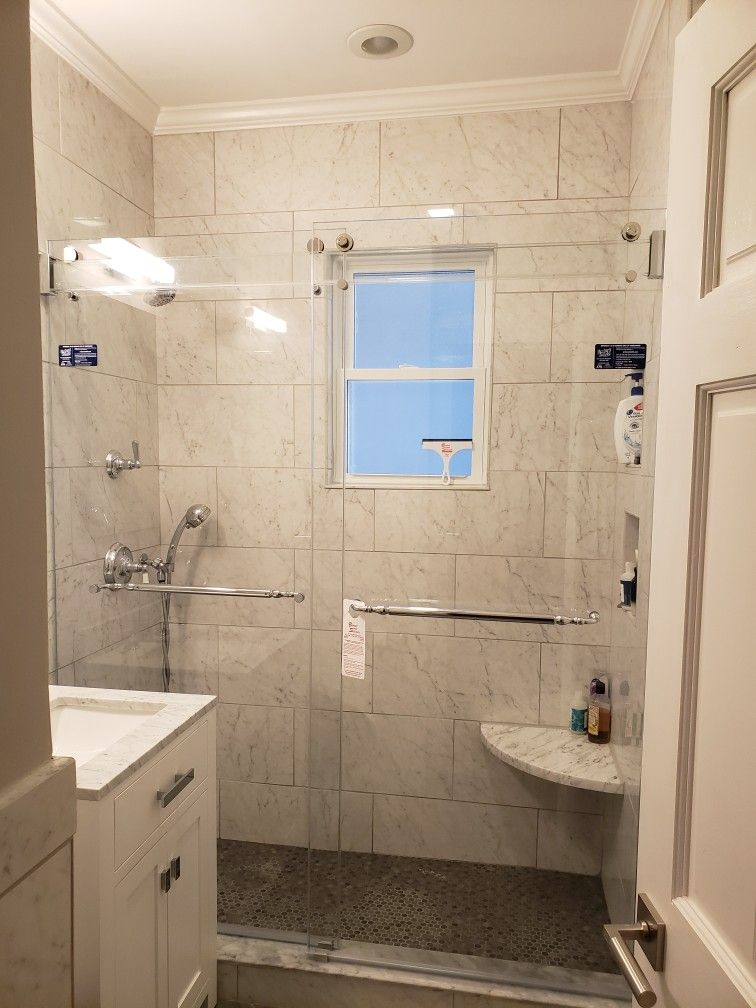 Phantom Sliding Shower Door With A Glass Header With Images