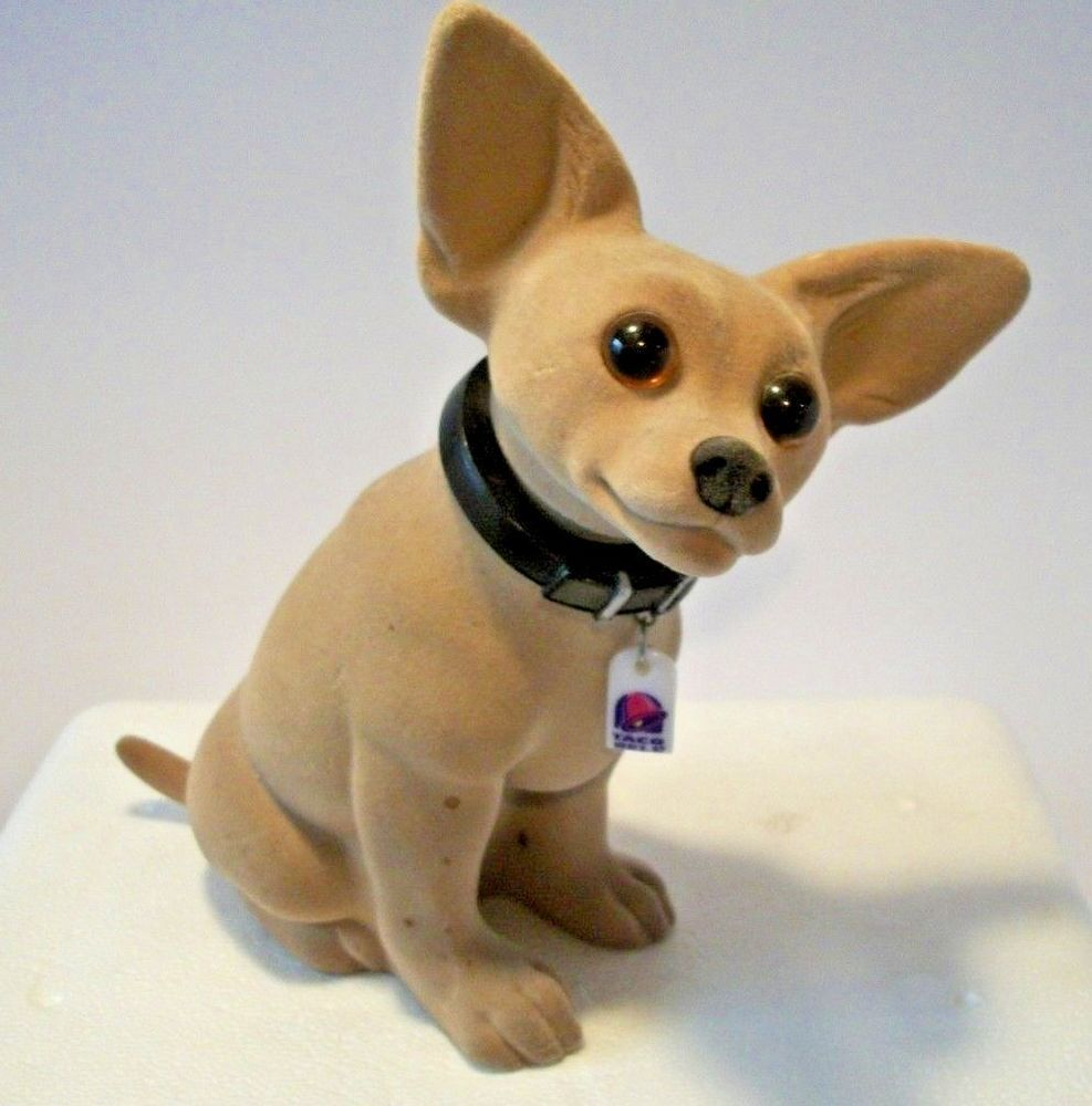 Vintage 1990 S Bobble Head Taco Bell Chihuahua Dog With Collar And