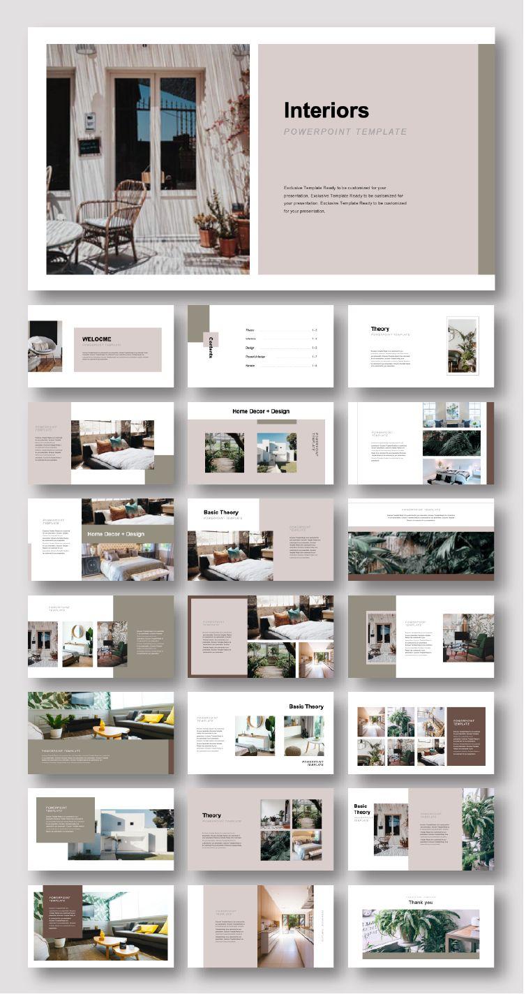 Creative Interiors Design Presentation Template Original And High Quality Powerpoint Templates Interior Design Presentation Architecture Portfolio Layout Interior Design Portfolio Layout
