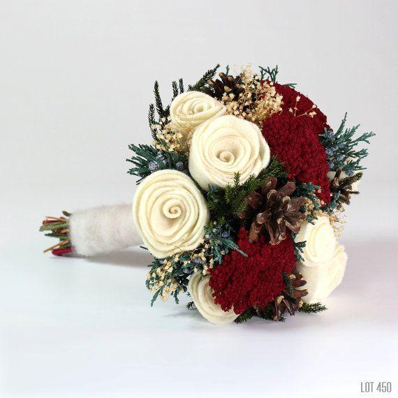 Christmas Wedding Bouquet Winter Bride Felt Rose Bridal Alternative Woodland