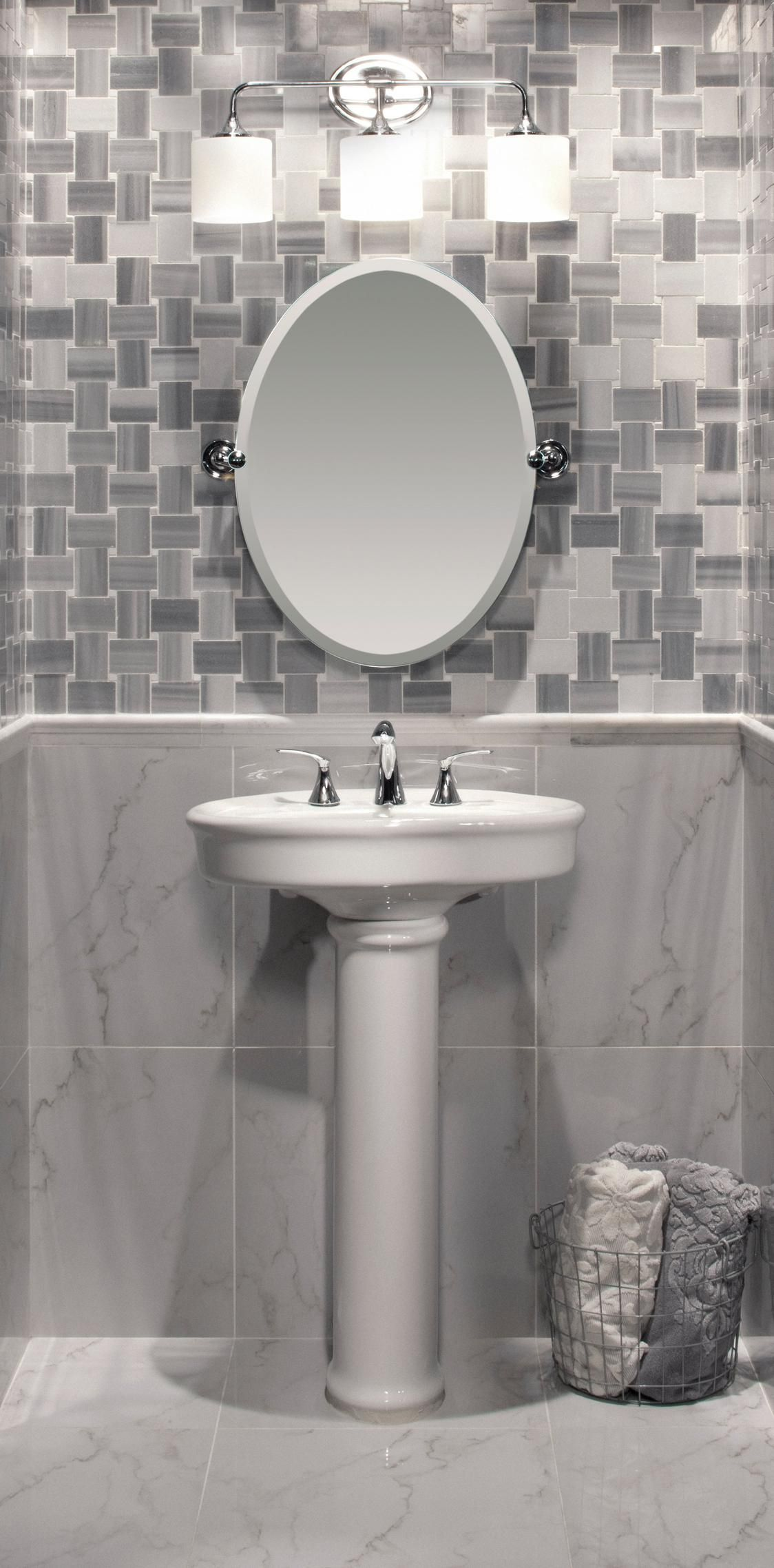 Pedestal Sinks U0026 Mirrors Promote Spaciousness With Functionality. Tile  Floor Going