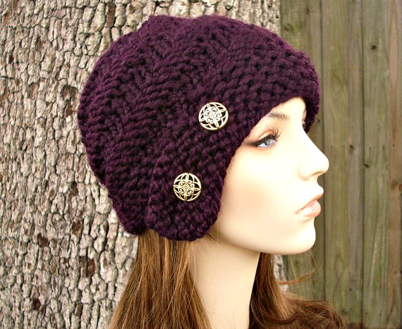 Knit Hat Womens Hat - Hybrid Swirl Cloche Hat in Eggplant Purple ...