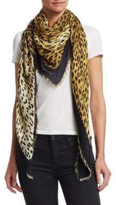 ec29fe48e421 Valentino Leopard Print Silk Scarf Silk Scarves