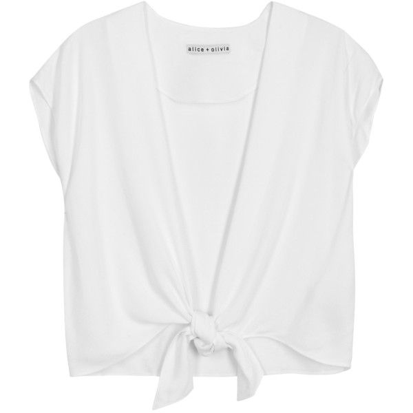Alice + Olivia Jenara White Tie-front Top - Size L (€230) ❤ liked on Polyvore featuring tops, shirts, crop tops, white shirts, cropped tops, white tops, plunge tops and tie front crop top