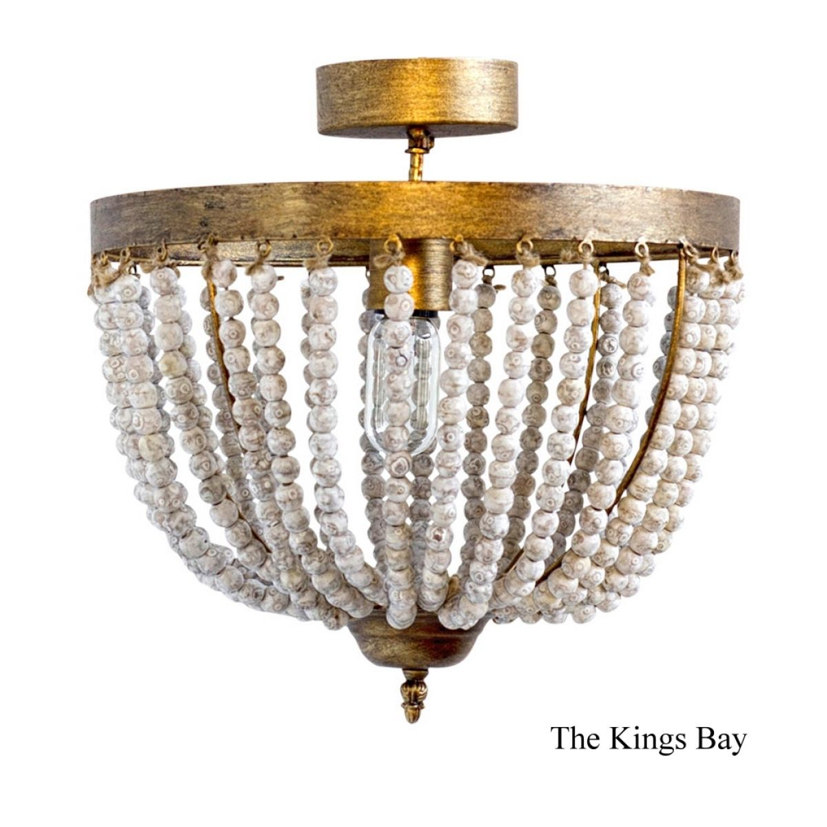 Entry Way Aged Beaded Ceiling Hallway Light Fixture In Aged Gold