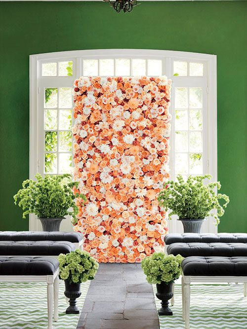 How to throw a garden themed wedding without the outdoor for Outdoor wall flowers