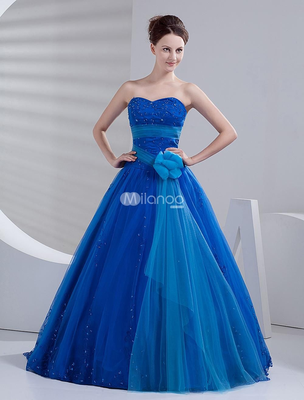 Royal blue net floor length princess prom dress its hard to find a