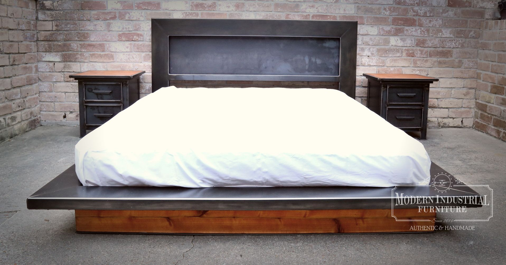 Modern Industrial Furniture Platform Bed  Rustic industrial