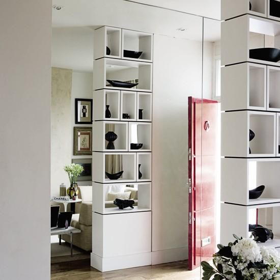 25 room dividers with shelves improving open interior for Room divider storage
