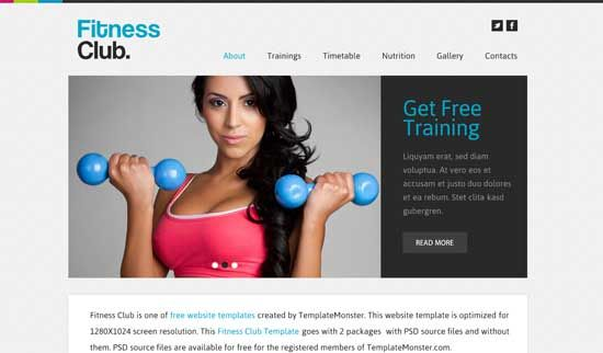 Fitness Club - Free Fitness Gym Website Templates Website Design - resume site template
