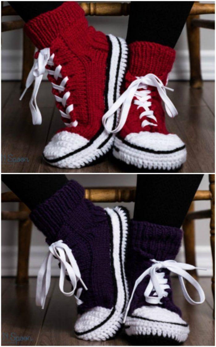 b4930cd33342 Crochet Converse Slippers Free Pattern Video Tutorial