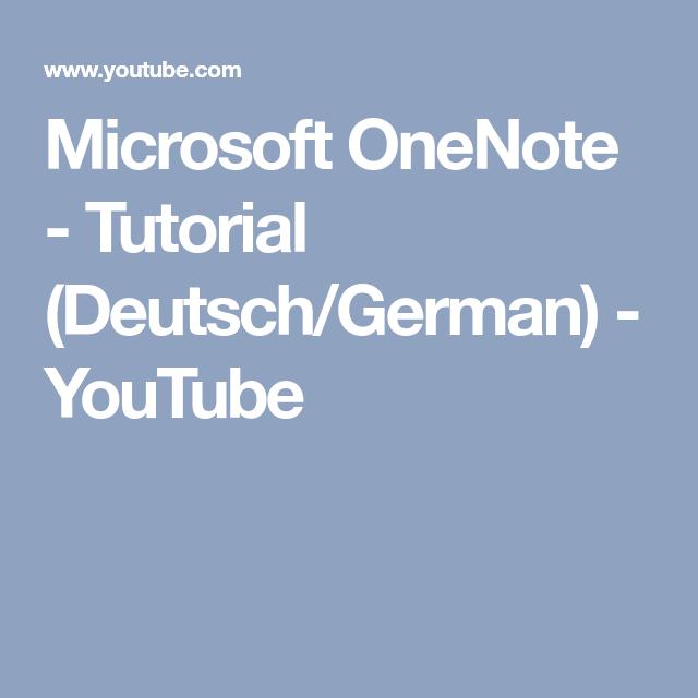 Microsoft OneNote Tutorial (Deutsch/German) YouTube
