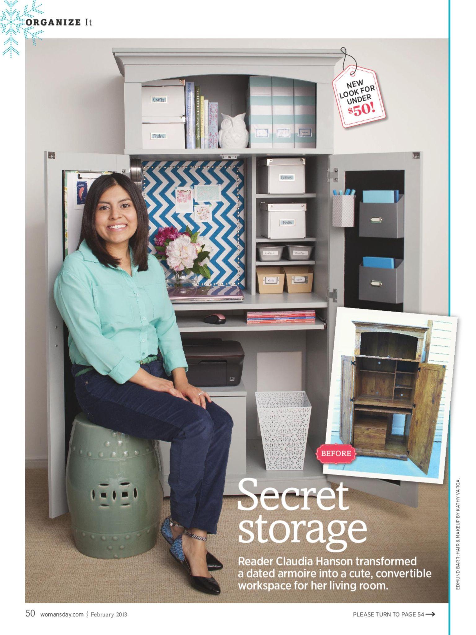 Do It Yourself Home Design: Tacky Computer Armoire Into Hidden Desk. Women's Day
