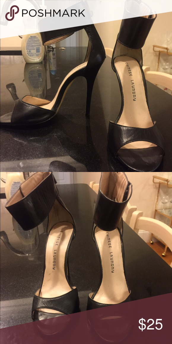 Black strappy heels Size 7.5 Chinese laundry heels. Worn 2x. They are too small for me. I'm really an 8. They are in  good condition. Chinese Laundry Shoes Heels