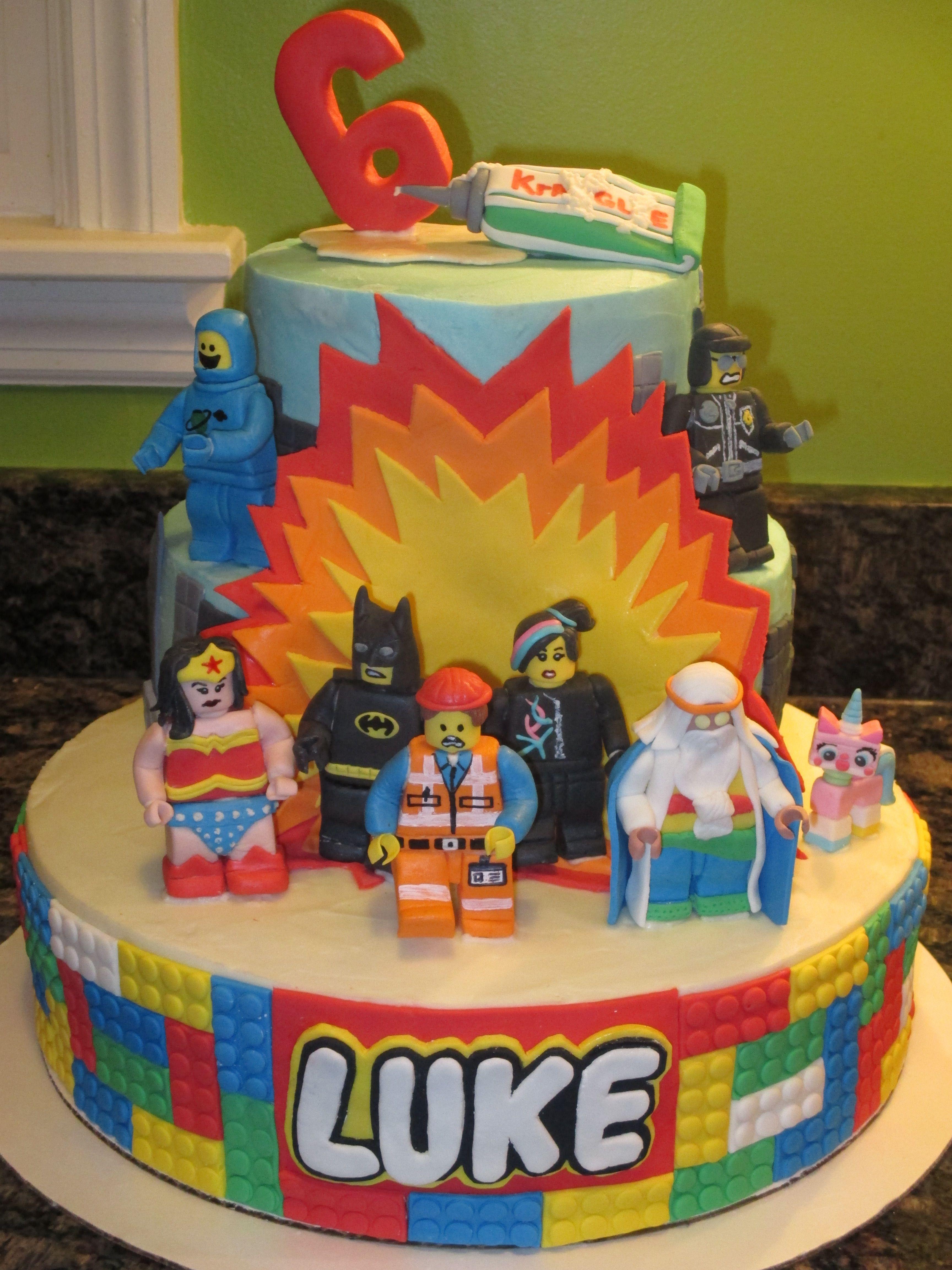 Superb Lego Movie Cake All Figures Are Fondant Lego Movie Birthday Birthday Cards Printable Trancafe Filternl