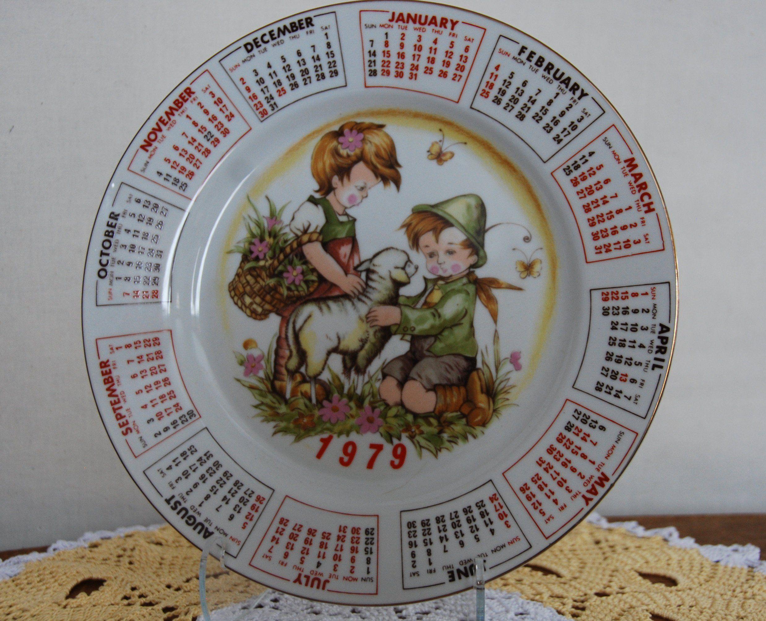Vintage 1979 Spring Calendar Plate Plates Spring Vintage