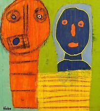 CORN CHILDREN Hoke Outsider RAW Folk Abstract Art Brut Painting nAIVE vISIONARY