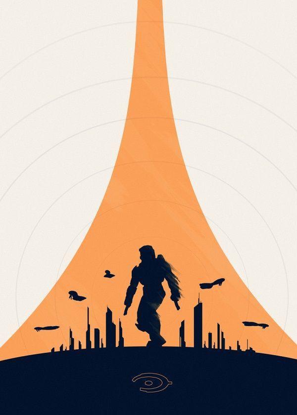 Halo Minimalist Silhouettes Displate Posters