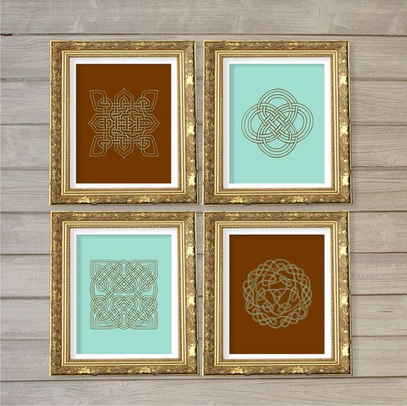 Celtic Knot Design Printable Wall Art Turqoise Brown Set Of 4 8x10 Instant