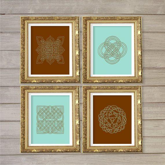 Celtic Wall Art celtic knot design printable wall art turqoise & brown set of 4
